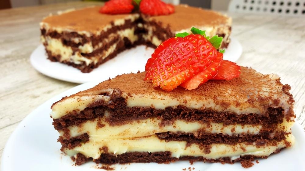 tarta de galletas y chocolate blanco. Tarta de la abuela